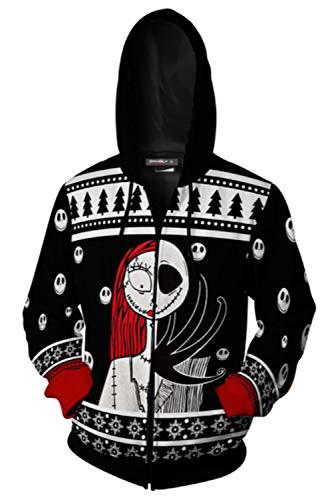 RedJade Uomo Donna Giacca con Cappuccio Maglione Felpa Zip-Up Hoodie The Nightmare Before Natale Christmas Jack Skull