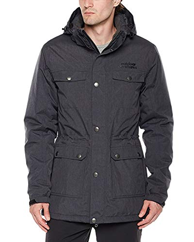 Outdoor Ventures Men's Winter Waterproof Utility Cargo Jacket with 5 Pockets Ski Jacket Snow Coat with Detachable Hood