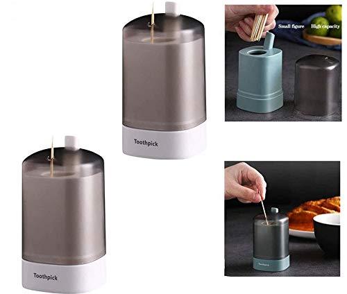 chenzhihui 2-teiliger automatischer Zahnstocherhalter, Push-Up-Wattestäbchenhalter, Abnehmbarer Zahnstocherspender für Restaurantküchenhand (Weiß)