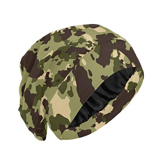Magnesis Gorro de camuflaje militar con estampado de camuflaje con forro de satén, gorro de dormir para mujer