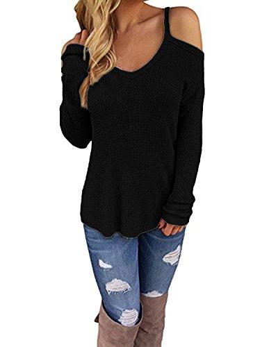 CNFIO Sexy Schulterfrei Oberteil Damen Sommer Shirt Off Shoulder Pullover für Damen Top Strickpullover V-Ausschnitt C-Schwarz EU44