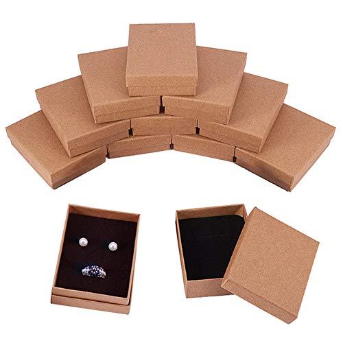 BENECREAT 12 Pack Collier Bague Boîte 9x7x3cm Kraft Brun Rectangle Boîtes À Bijoux en Carton Petite Boîte Cadeau pour la Fête De Mariage Anniversaires