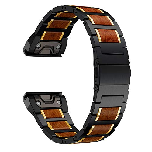 Check Out This LDFAS Fenix 6X/5X Plus Band, Wood Red Sandalwood Stainless Steel Metal, 26mm Quick Re...