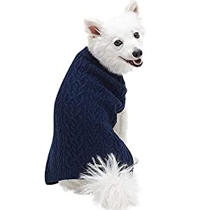 Blueberry Pet Classic Wool Blend Cable Knit Pullover Dog Sweater in Dress Blue, Back Length 10″, Pack of 1 Clothes for Dogs