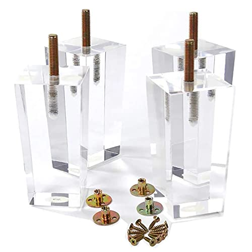 JYMEI Pies De Muebles × 4,Patas de acrílico Transparentes para Muebles de 10cm,Patas cuadradas para sofá,Patas de Mesa,para Armario,Mesa de café,Cama