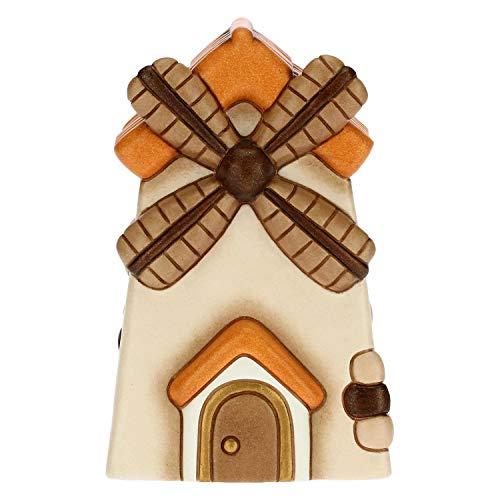 THUN - Statuina Presepe Mulino a Vento - Decorazioni Natale Casa - Linea Presepe Classico - Ceramica - 7,5 x 7,5 x 12,5 h cm