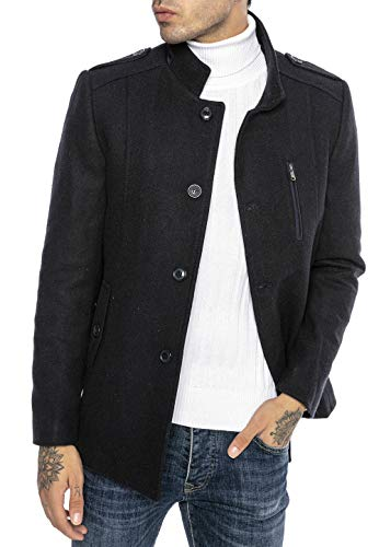 cappotto uomo invernale corto Redbridge Cappotto da Uomo elegante Giacca lunga invernale Slim Fit Casual Chic Blu XL
