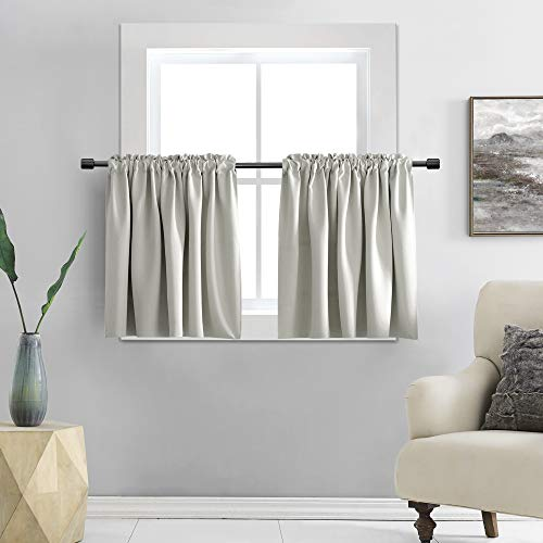 DONREN 30 Inch Length Curtain Tiers for Loft - Light Gray Blackout Short Length Curtains for Bathroom(42 Inches Wide,2 Panels)