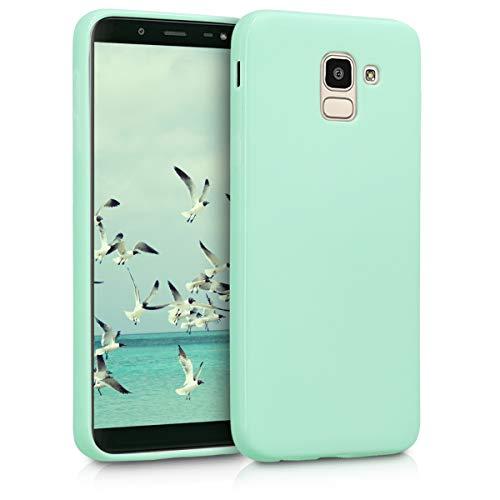 kwmobile Funda Compatible con Samsung Galaxy J6 - Carcasa de TPU Silicona - Protector Trasero en Menta Mate
