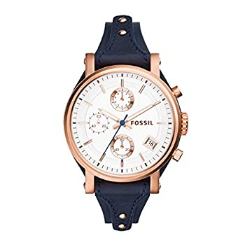 Fossil Women s Original Boyfriend Quartz Stainless Steel and Leather Chronograph Watch Color  Rose Gold  Model  ES3838