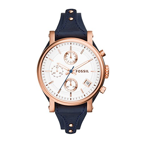 Fossil Women's Original Boyfriend Quartz Leather Chronograph Watch, Color: Rose Gold, Blue (Model: ES3838)