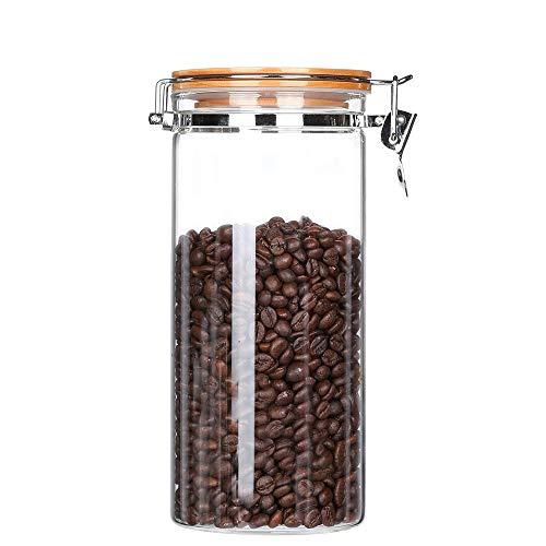 KKC Kaffeedose Glas Luftdicht, Kaffeebohnen Behälter Glas 500g Bohnen Luftdicht,Kaffeebehälter Glas,Lebensmittel Aufbewahrung Glas mit Bambusdeckel für Kaffee,Nüsse,Müsli,1,5 ML