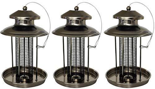 3 X Deluxe Suspendu Mangeoire pour Oiseaux Facile Remplissage Écrou Étain Lanterne pour Petits Oiseaux