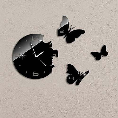 mubgo Wanduhren 3D Black Butterflies DIY Wall Clock Modern Design Watch Mechanism Crystal Mirror Wall Sticker Wall Clock Living Room
