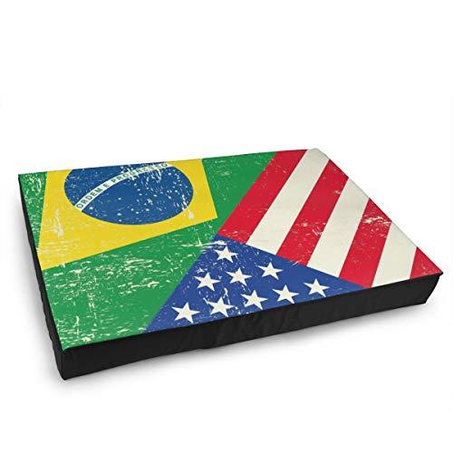 Jacklee Hond Kattenbed met orthopedisch schuim en wasbaar anti-slip deksel, Amerikaanse vlag Brazilië