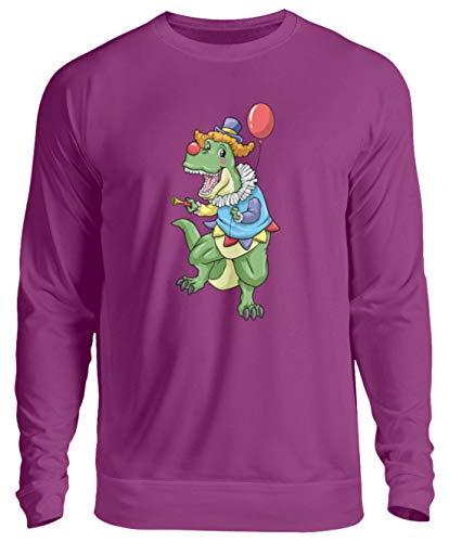 generisch T-Rex Clown Kostüm Karneval Kinder Zirkus Dinosaurier Sweatshirt Clown - Unisex Pullover -XXL-Magenta Magic