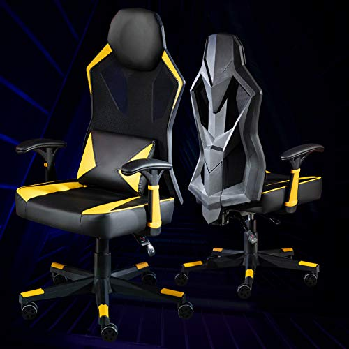 LEOVOL ゲームチェア ゲーミングチェア レーシングチェア pcチェア パソコンチェア デスクチェア ゲーム用チェア オフィスチェア pc チェア パソコン 椅子 多機能 いす リクライニング 疲れない椅子 おしゃれ ゲーム用 ゲーミング 伸縮可能のフットレストランバーサポート ひじ掛け付き 腰痛対策 PUレザー 通気性抜群 (イエロー)