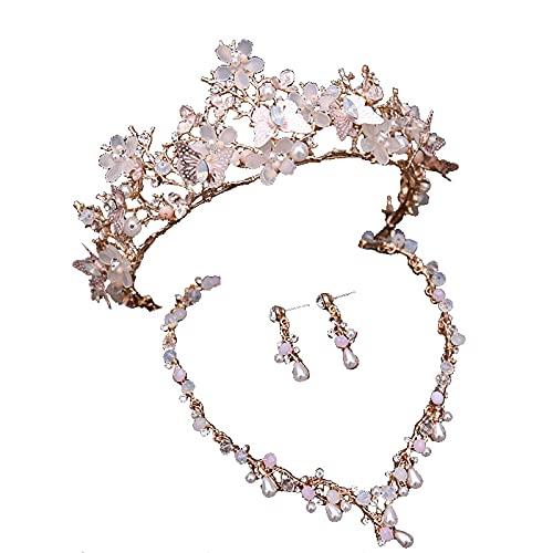 ZHANGQQ Crystal Tiara Crown,Gold Crown Ladies Crown and ti Crown, Crown Wedding Dress Atmosphere Three-Piece Hair Accessories Set Hair Accessories Crown Jewelry