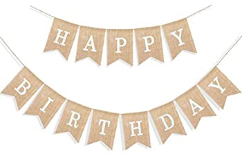 Uniwish Happy Birthday Banner for Birthday Party Decorations Rustic Burlap Bunting Swallowtail Flags 2 in 1