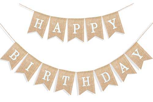 Uniwish Happy Birthday Banner for Birthday Party Decorations, Rustic Burlap Bunting Swallowtail Flags, 2 in 1