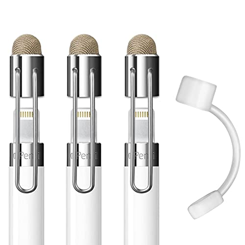 MEKO 2 in 1 Cap Replacement for Apple Pencil Thin Fiber Tip as Stylus for iPads,iPhones,Tablets, Laptops and All Touch Screen Devices(3 Pcs)