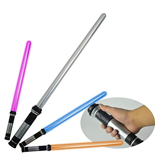 Hinder 2 PCS Kids Telescopic Flashing Sword Cosplay Luminous Light Stick Toy Kids Toy Boys Gift for Bracelets, Rings Necklace Halloween Rave Fancy Dress Party Toys