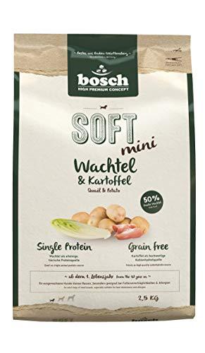 Bosch HPC Soft Mini Wachtel & aardappel | halfvochtig hondenvoer voor volwassen honden kleine rassen | single proteïne | Grain-Free, 4 x 2500 g