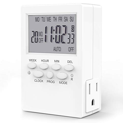 Dual Outlet Timer, Digital Programmable Timer, 7 Day Indoor Plug-in Timer for Electric Outlets, Wall Timer Switch for Appliances, 15A/1850W Grounded
