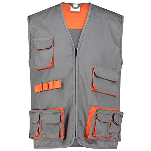 BWOLF, gilet Sigma da lavoro da uomo, colore grigio/arancione, grigio/arancione, L