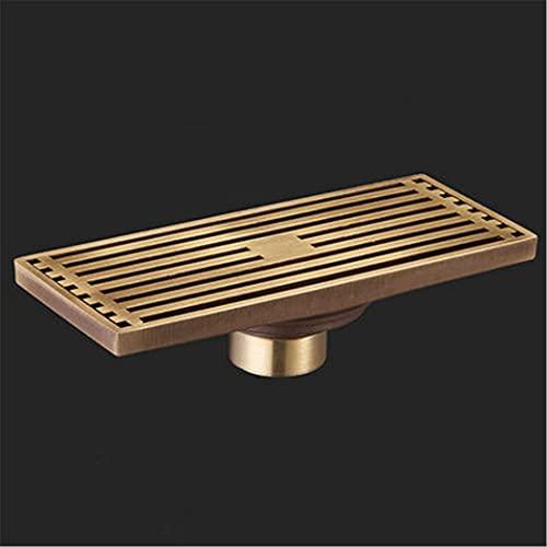 changhai Floor Drain Euro Antique Brass Bathroom Linear Shower 820/830Cm Floor Drain Wire Strainer Art Carved Cover Waste Drain Antique F 8031-u (Color : Antique a 8029-t)
