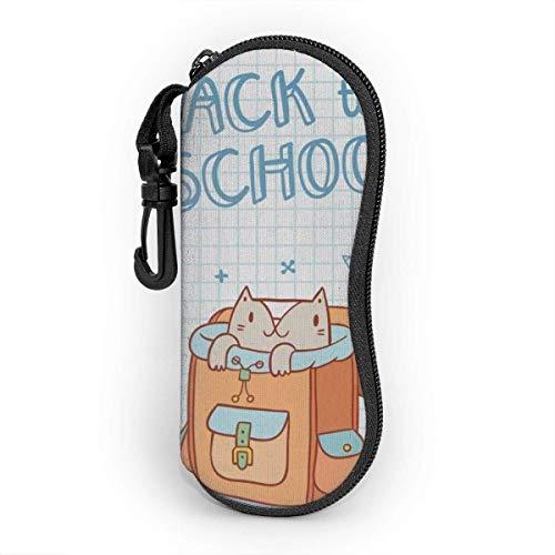 Funda de Gafas Precioso animal gato en una mochila escolar Día de regreso a clases Ultra Ligero Neopreno Suaves viaje Estuche para Gafas de caso Bolsa con Clip de Cinturón