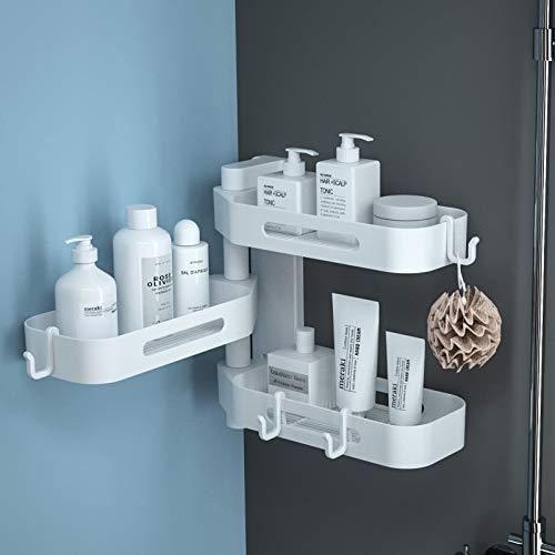 TIAN PAN-Estantería de baño y Cocina moderna,sin Fisuras del Soporte de Montaje y el Soporte de Ducha con toallero, Estante giratorio de plástico(ABS) de Almacenamiento de mamparo (White,28 x24cm)
