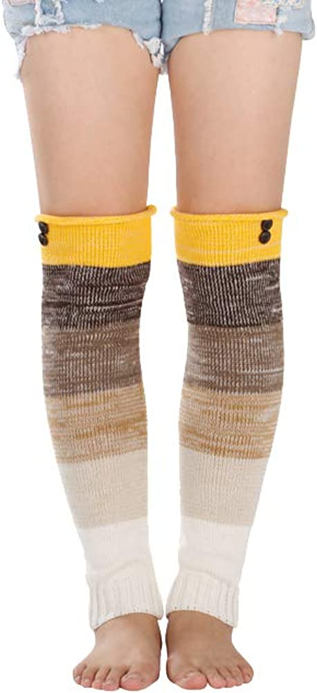 Telamee Winter Knee High Striped Socks Boot Cuffs Toppers Leg Warmers for Women
