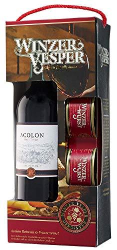 Winzer Vesper Acolon Rotwein 750 ml & 2 Dosen Winzerwurst je 125 g