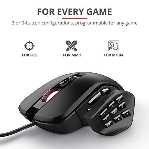 Trust Gaming GXT 970 Morfix Individuell anpassbare Gaming Maus (Mouse mit 4 Magnetische Seitenplatte, bis 10.000 DPI, RGB-Beleuchtung) Schwarz