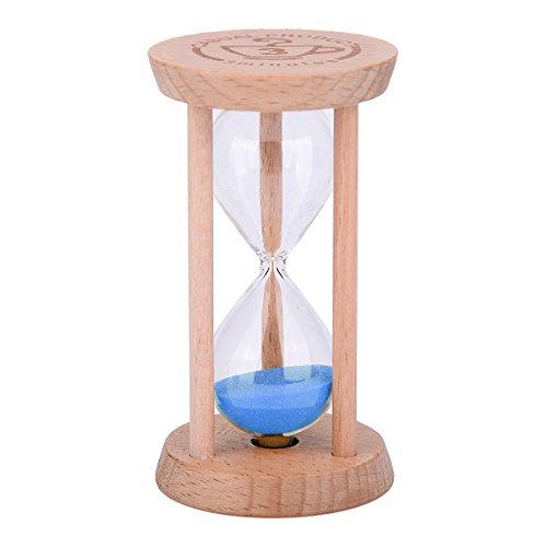 Mini-Sanduhr–Holz-Sanduhr, Timer, Holzfarbe, Werkzeug für Zuhause und Restaurant, 1Minute/3Minuten 3min Wood + Blue