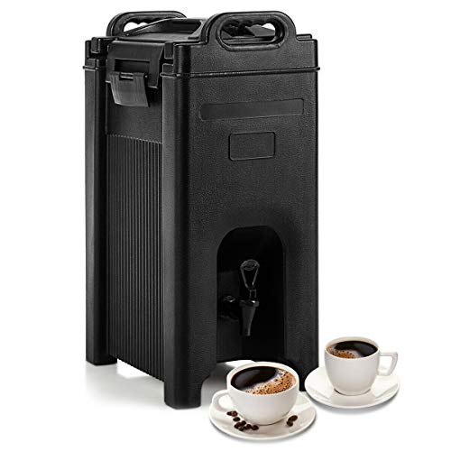 COSTWAY Insulated Iced and Hot Beverage Server/Dispenser, w/Seamless Double Walled Shell, 5 Gallon Beverage Carrier, Food-grade LLDPE Material, w/Spring Action Faucet, for Restaurant, and Drink Shop