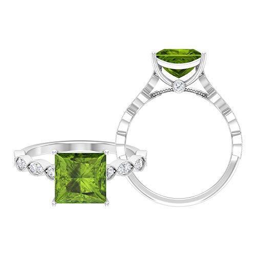 Anillo solitario de corte princesa de 8 mm, anillo de moissanita D-VSSI, anillo de compromiso de oro blanco de 14 quilates verde