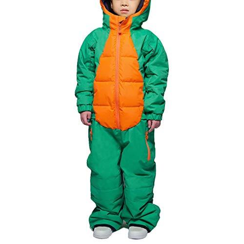 Kinder-Ski-Outfit, Schnee Jacken Hosen Set, Hohe Windundurchlässiger Wasserdichter Snowsuit, Snowboard & Ski Anzug Skiausrüstung,Grün,104cm