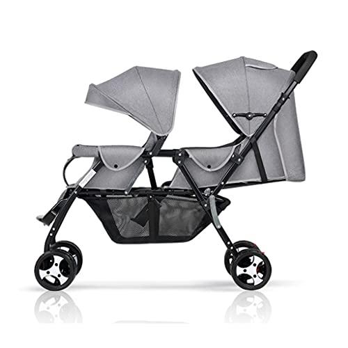 QIFFIY Sillas de Paseo Cochecito de bebé Gemelo, una retracción Clave, Puede Sentarse y Plegar los Segundos cochecitos de bebé de Alto y bajo diseño de diseño de bebé Cochecito