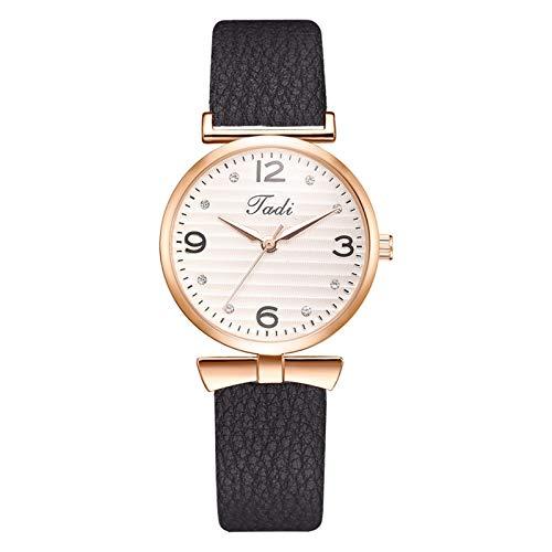 JZDH Relojes para Mujer Relojes para Mujer Número de árabe Reloj Casual Exquisito Damas Reloj de Cuarzo Moda Reloj de Pulsera de Cuero Relojes Decorativos Casuales para Niñas Damas (Color : Black)