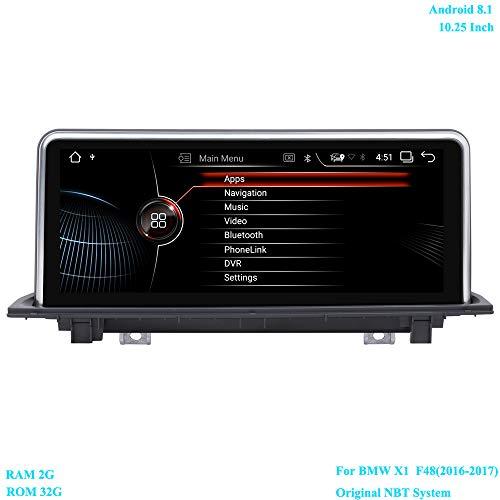 XISEDO Android 8.1 Autoradio 10.25 Pollici Schermo 6-Core RAM 2G ROM 32G Navigazione GPS supporta Controllo del volante, WiFi, Bluetooth per BMW X1 F48 (2016-2017) Sistema NBT Originale