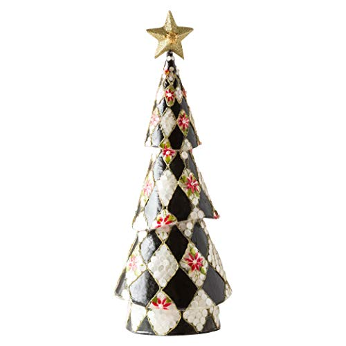 MacKenzie-Childs Poinsettia Tree, Tabletop Christmas Decorations, Holiday Collection, Short