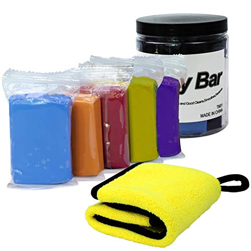 Eazy2hD Car Clay Bar 5 Pack 100g, Car Clay Bar Cleaner Auto Detailing with Towel for Car, Glass, Vehicles and Much More Cleaning, 5 Colors of Car Clay Bar Kit