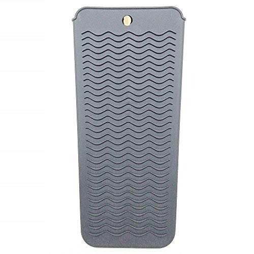 Lessmon Heat Resistant Silicone Mat Pouch for Flat Iron, Curling Iron, Straightener, Hot Hair Tools(Grey)