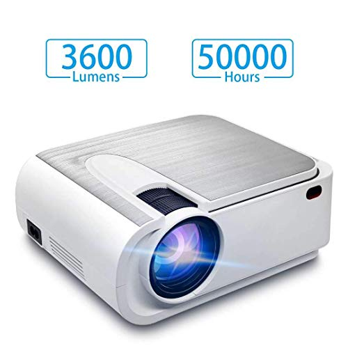 Video Projector,Full HD LED 3600 Lux Mini Partable Projector 2019 New,1080p and 300'' Display 50000 Hours Projector for Home Movie,Compatible with TV Stick, PS4, HDMI, VGA, TF, AV and USB