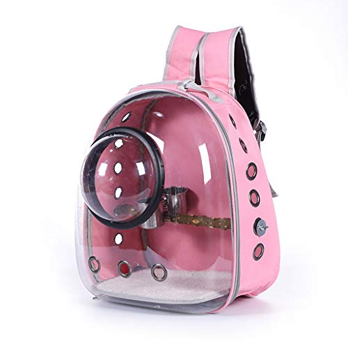 Generic Parrot Backpack Carrier with Portable Bird Feeder Cups Travel Cage Birds Breathable Transparent Space Capsule Pink