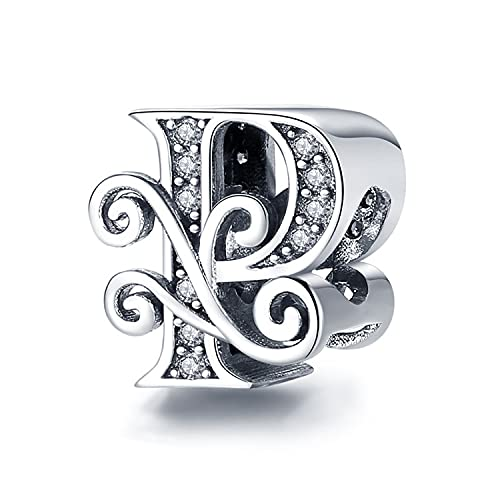 Annmors Letter Charm 925 Sterling Silver Jewelry Making Initial Charm A-Z Charm for Women Alphabet Charms fit pandora Bracelets Beads Snake Chain Necklace (P)