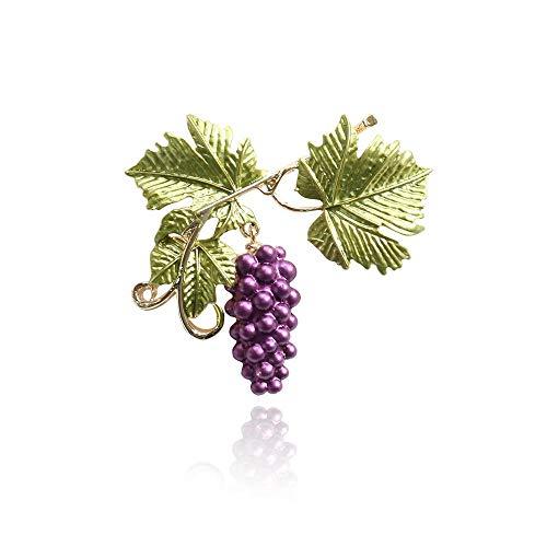 Natuurlijke eenvoudige plant broche paarse druiven fruit pin mannen en vrouwen broche