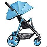 Gaolx Cochecito de portátil Plegable con una Mano Respaldo Ajustable Cinturón de Seguridad de 5 Puntos Freno de un pie Silla de Paseo para 1 o 2 niños de Diferentes Edades,Azul